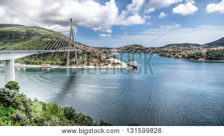 Dubrovnik, Croatia - May 2, 2014: Franjo Tudman Bridge at the entrance of city of Dubrovnik
