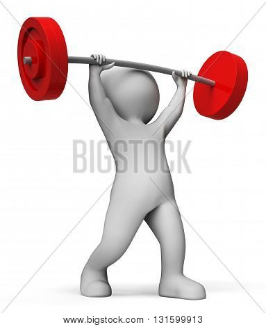 Weight Lifting Means Muscular Build And Athletic 3D Rendering