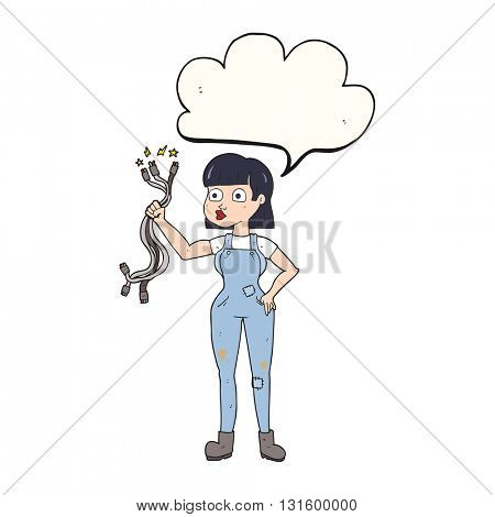 freehand drawn speech bubble cartoon female electrician