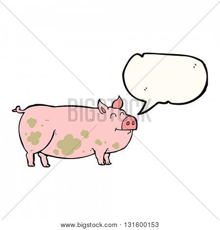 freehand drawn speech bubble cartoon muddy pig