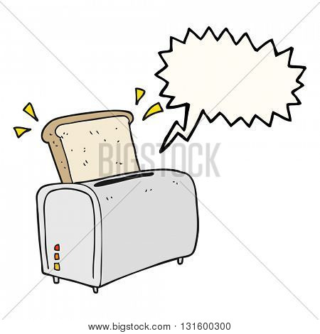 freehand drawn speech bubble cartoon toaster
