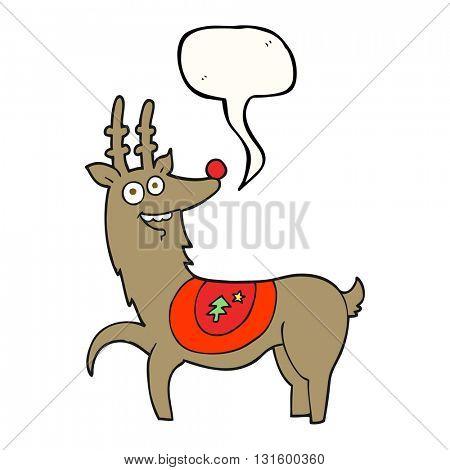 freehand drawn speech bubble cartoon christmas reindeer