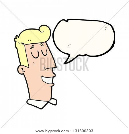 freehand drawn speech bubble cartoon grinning man