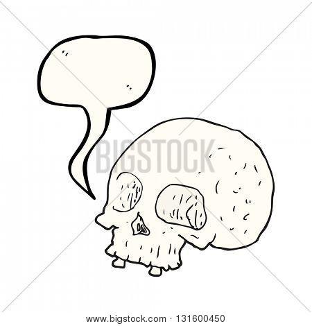 freehand drawn speech bubble cartoon old skull