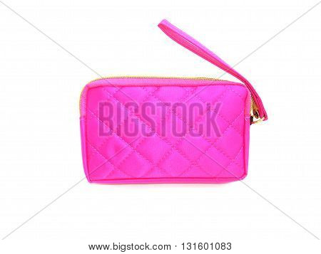 close up pink purse on isolated white