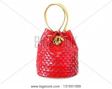close up red purse on isolated white background