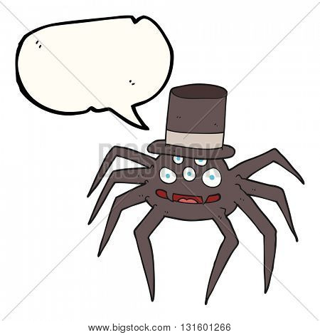 freehand drawn speech bubble cartoon halloween spider