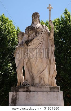 LUCCA, ITALY - JUNE 06, 2015: Statue of Maria Louisa of Spain, Duchess of Lucca in Lucca, Italy, on June 06, 2015