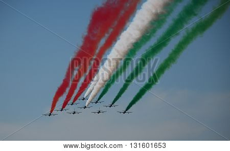 IZMIR/TURKEY-JUNE 5, 2011 : Italian Air Force's Frecce Tricolori Display Team at the 2nd Main Jet Base-Cigli for Airshow. June 5, 2011-Izmir/Turkey