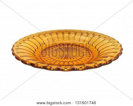 close up orange plate on isolated white