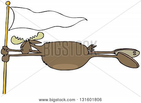 Illustration of a bull moose hanging on to a flagpole in a high wind.