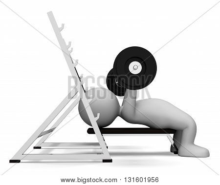 Weight Lifting Represents Muscular Build And Empowerment 3D Rendering