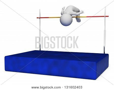High Jump Indicates Pole Vault And Athletic 3D Rendering