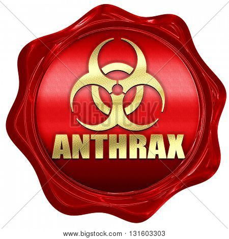 Anthrax virus concept background, 3D rendering, a red wax seal