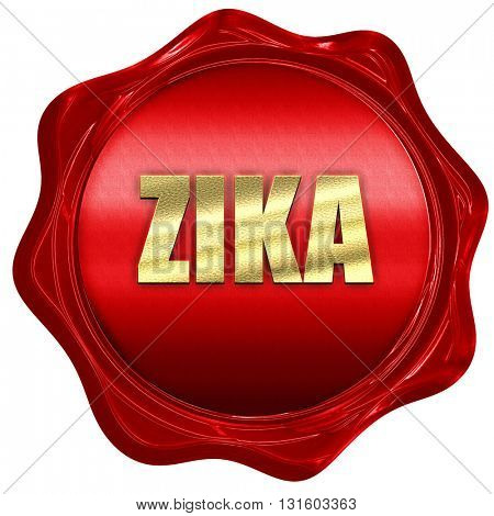 Zika, 3D rendering, a red wax seal