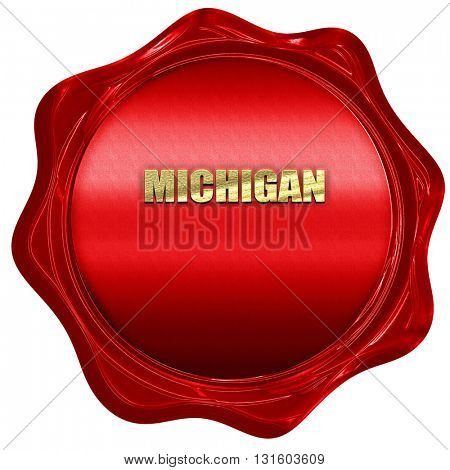 michigan, 3D rendering, a red wax seal