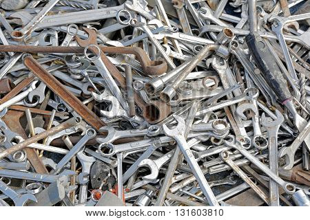 Big Pile of Various Wrench Spanner Tools