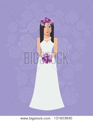 The bride in a long wedding dress with a bouquet of flowers. Vector illustration in a flat style. Wedding poster invitation decoration. Wedding fashion Greek style
