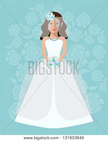The bride in a long wedding dress with a bouquet of flowers. Vector illustration in a flat style. Wedding poster invitation decoration. Wedding fashion princess style