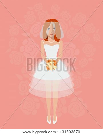 The bride in a long wedding dress with a bouquet of flowers. Vector illustration in a flat style. Wedding poster invitation decoration. Wedding fashion short style
