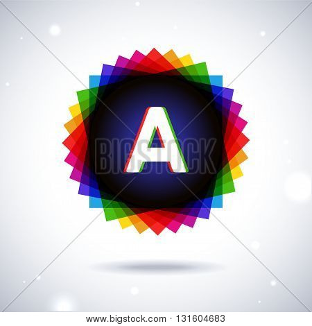 Spectrum logo icon with shadow and particles. Letter A
