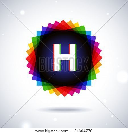 Spectrum logo icon with shadow and particles. Letter H
