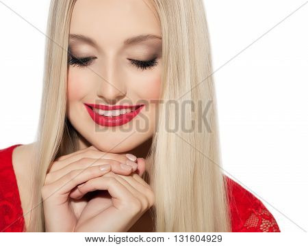 Happy Woman With Long Blond Hair