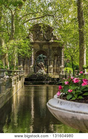 PARIS FRANCE - May 11 2013: Luxembourg Garden. This is Marie de Medici Fountain.