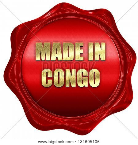 Made in congo, 3D rendering, a red wax seal