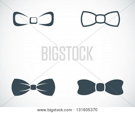 Vector black bow ties icons set on white background