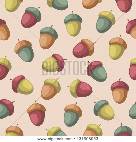 Seamless pattern with colorful acorns Seamless nature background in cartoon style