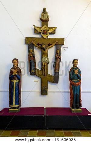 ROSTOV RUSSIA - JUNE 3 2013: Rostov Kremlin museum. This is medieval Orthodox crucifix of 16th century.