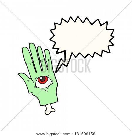 freehand drawn speech bubble cartoon spooky eye hand