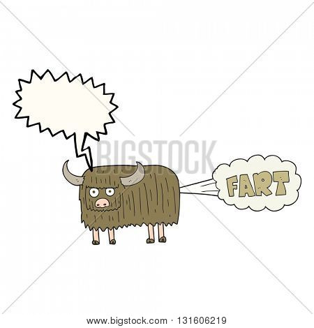 freehand drawn speech bubble cartoon hairy cow farting