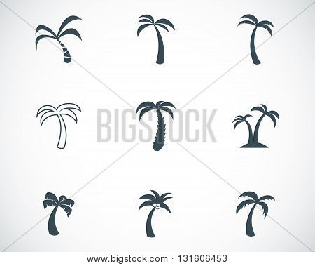 Vector black palm icons set on white background