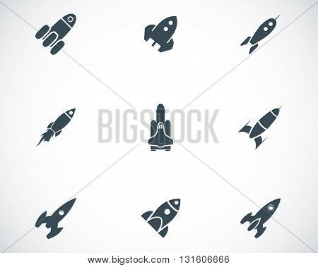 Vector black rocket icons set on white background