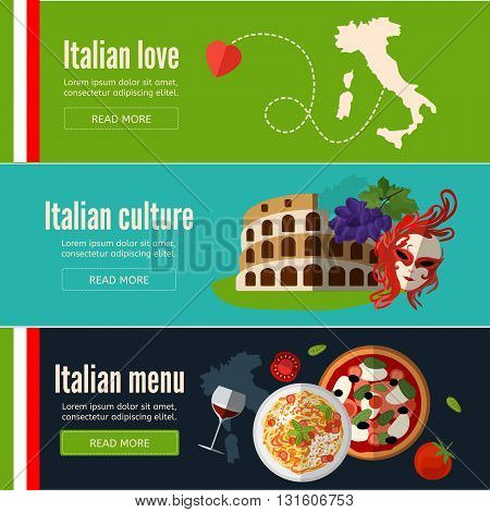 Collection of web banners with Italian food symbols and architecture.Italy banner set with italian style culture isolated. Flat style. EPS 10