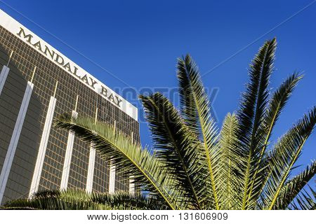 Las Vegas, Nevada/USA-03/22/2016 Mandalay Bay Casino and Hotel luxury resorts in Las Vegas, with palm tree. Located at the southern end of the Las Vegas Strip