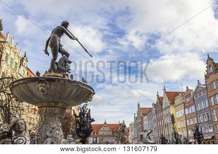 GDANSK, POLAND - NOVEMBER 13: Statue of Neptune at the Long Market in Gdansk on November 13, 2010 in Gdansk.