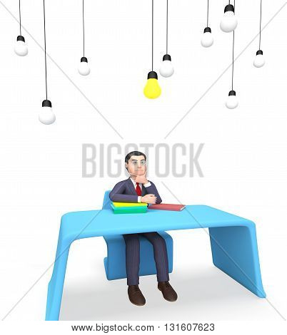 Businessman Lightbulbs Shows Power Sources And Concept 3D Rendering