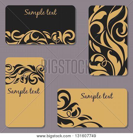 Set of business Cards. Beauty designs. Vintage invitations. Vector illustration