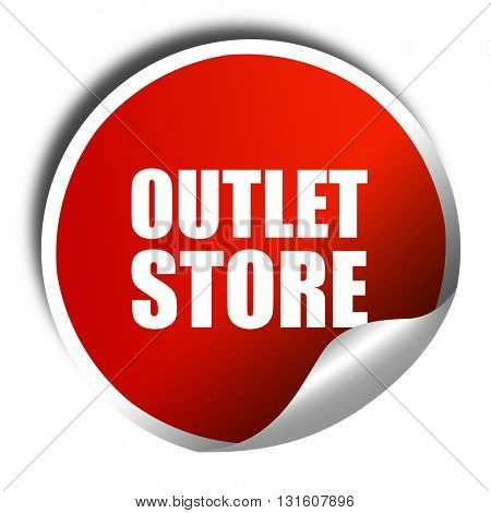 outlet store, 3D rendering, a red shiny sticker