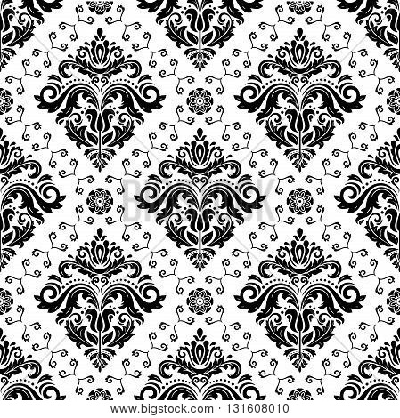 Seamless oriental ornament in the style of baroque. Traditional classic vector pattern. Black and white pattern