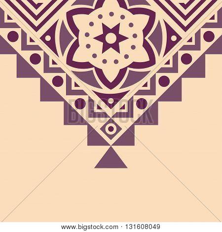 Ethnic pattern on a on a beige background. Ethnic design. Vector Illustration.