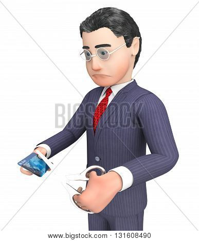 Credit Card Represents Business Person And Bankruptcy 3D Rendering