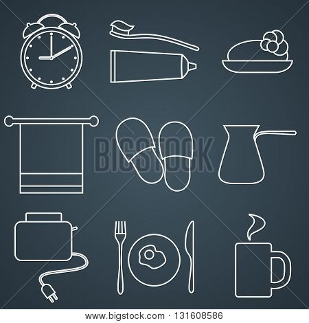 Set of line icons. Morning icons. Morning routine. Vector line icons.
