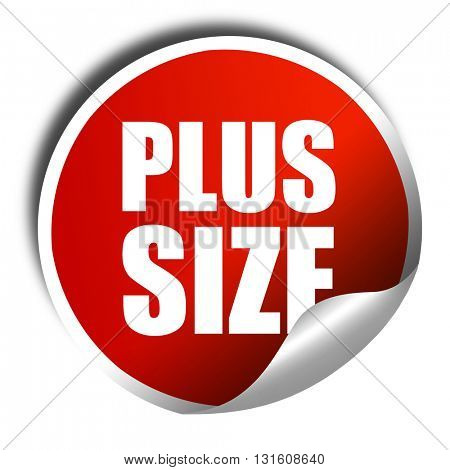plus size, 3D rendering, a red shiny sticker