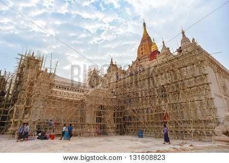 Bagan, Myanmar - April 22, 2016 : Worker renovating Ananda Temple in Bagan Myanmar.