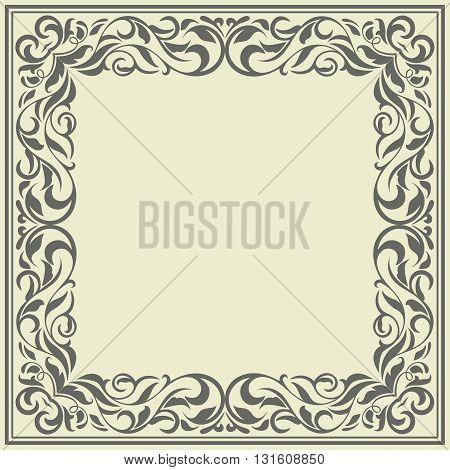 Frame with vintage pattern.Background with floral design. Beautiful floral design