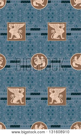 Greek ornament seamless background. Antique style design